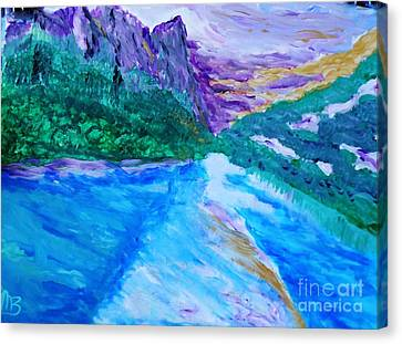 Purple Mountins With A Touch Of Gold Canvas Print by Marie Bulger