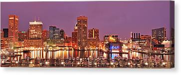 Purple Night In Baltimore Canvas Print by Wayne King