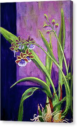 Canvas Print featuring the painting Purple Orchids by Nancy Jolley