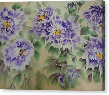 Canvas Print featuring the painting Purple Peony 012 by Dongling Sun