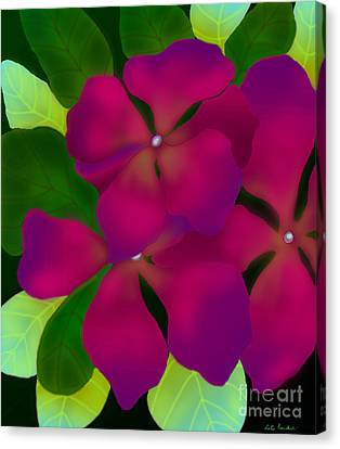 Canvas Print featuring the digital art Purple Periwinkles by Latha Gokuldas Panicker