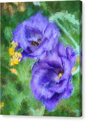 Canvas Print featuring the painting Purple Petals by Ike Krieger