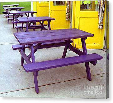 Purple Picnic Tables Yellow Doors Canvas Print