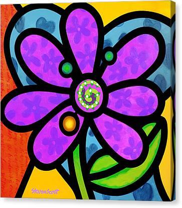 Purple Pinwheel Daisy Canvas Print