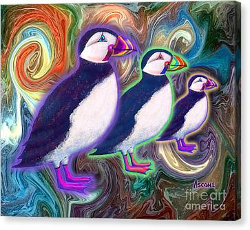 Canvas Print featuring the mixed media Purple Puffins by Teresa Ascone