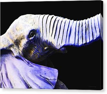 Circus Canvas Print - Purple Rein - Vibrant Elephant Head Shot Art by Sharon Cummings
