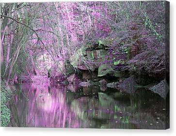 Canvas Print featuring the photograph Purple Rock Reflection by Lorna Rogers Photography