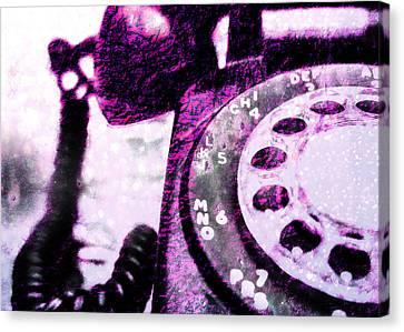 Industrial Canvas Print - Purple Rotary Phone by Jon Woodhams
