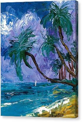 Purple Sky Palms Canvas Print