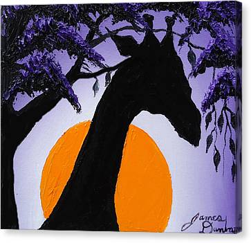 Purple Sun Giraffe Canvas Print by Portland Art Creations