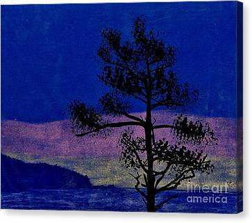 Canvas Print featuring the drawing Purple Sunset Bay by D Hackett