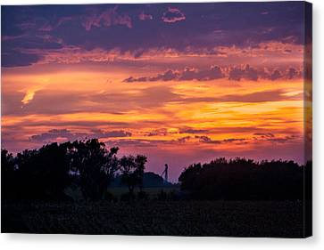 Canvas Print featuring the digital art Purple Sunset by Dawn Romine