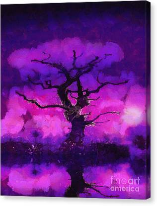 Purple Tree Of Life Canvas Print by Pixel Chimp