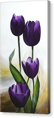 Purple Tulips Canvas Print by Teresa Wadman