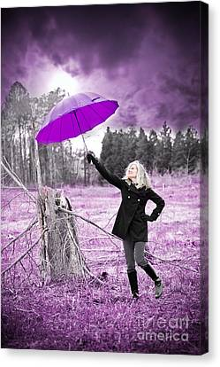 Black Boots Canvas Print - Purple Umbrella by Jt PhotoDesign