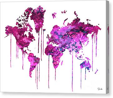 Purple Watercolor Map Canvas Print by Watercolor Girl
