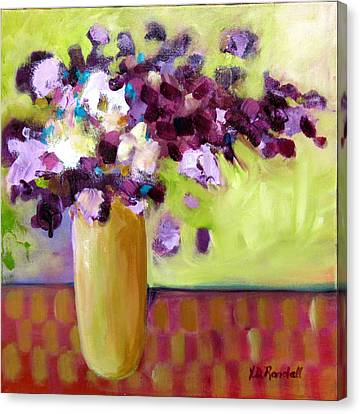 Purple White Flowers In Vase Canvas Print by Donna Randall