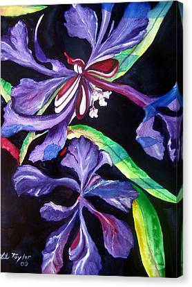 Canvas Print featuring the painting Purple Wildflowers by Lil Taylor
