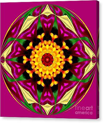 Purple Yellow Flower Orb Canvas Print by Annette Allman