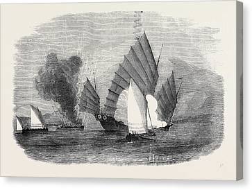 Pursuit Of A Chinese Pirate By The Boats Of H Canvas Print