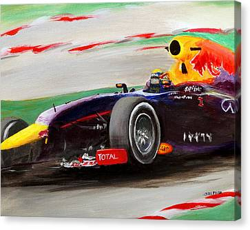 Canvas Print featuring the painting Pushing Hard by Chris Fraser