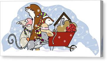 Pushing The Wheelbarrow Canvas Print by Christy Beckwith