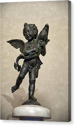 Putto With Dolphin By Verrocchio Canvas Print by Melany Sarafis