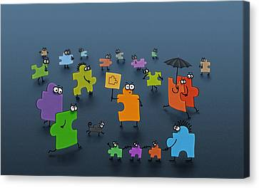 Puzzle Family Canvas Print by Gianfranco Weiss