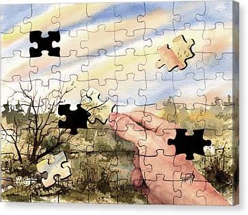 Puzzled Canvas Print