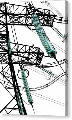 Pylon With Glass Insulator Strings Canvas Print by Cordelia Molloy