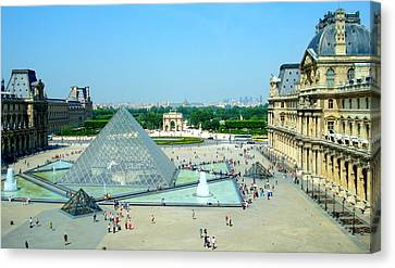 Canvas Print featuring the photograph Pyramid At The Louvre by Kay Gilley