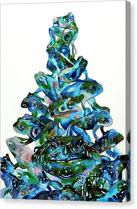 Frog Watercolor Canvas Print - Pyramid Of Frogs And Toads by Fabrizio Cassetta