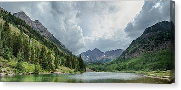 Pyramid Peak And The Maroon Bells Canvas Print by Adam Pender