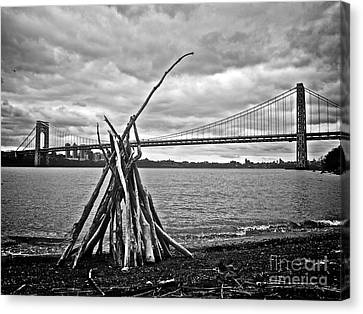 Pyre At The Bridge Canvas Print by Mark Miller