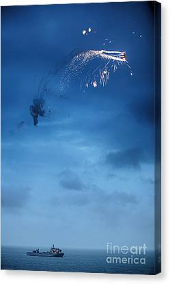 Flaming Plane Over Warship Canvas Print by Simon Bratt Photography LRPS