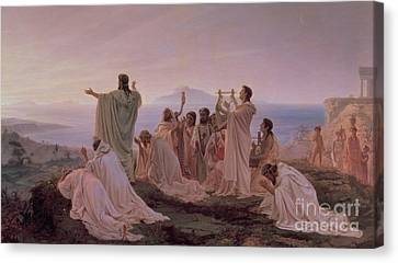 Pythagoreans' Hymn To The Rising Sun Canvas Print by Fedor Andreevich Bronnikov