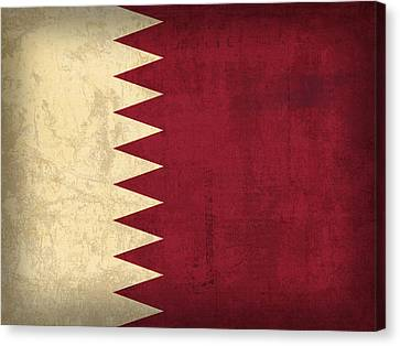 Qatar Flag Vintage Distressed Finish Canvas Print by Design Turnpike