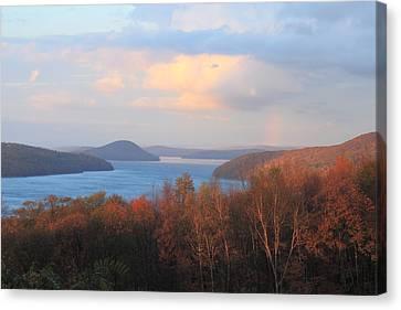 Quabbin Reservoir Enfield Lookout Late Foliage Rainbow Canvas Print