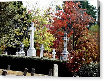 Canvas Print featuring the photograph Quad Crosses In Fall by Lesa Fine