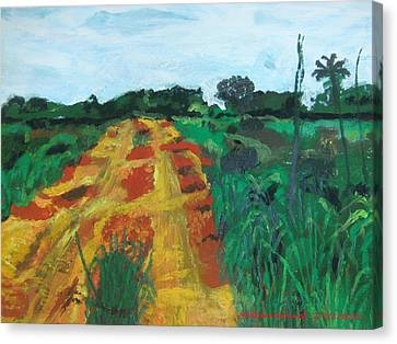 Canvas Print featuring the painting Quagmire To My Village by Mudiama Kammoh
