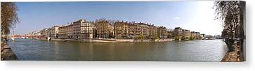 Quai Du Marechal Joffre Along The Saone Canvas Print by Panoramic Images