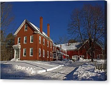Maine Farmhouse Canvas Print - Quaint Maine Winter Farm by Catherine Melvin