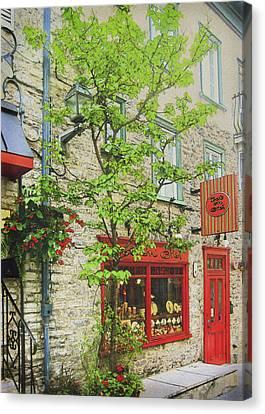 Quaint Shops Quebec City Canvas Print by Ann Powell