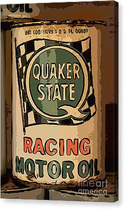 Quaker State Oil Can Canvas Print by Carrie Cranwill