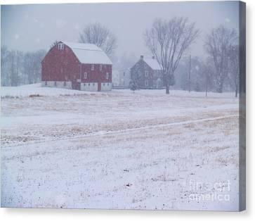 Quakertown Farm On Snowy Day Canvas Print by Anna Lisa Yoder