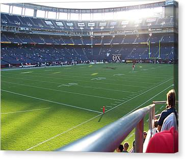 San Diego California Baseball Stadiums Canvas Print - Qualcomm Stadium by Georgia Fowler