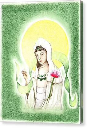 Canvas Print featuring the drawing Quan Yin by Keiko Katsuta
