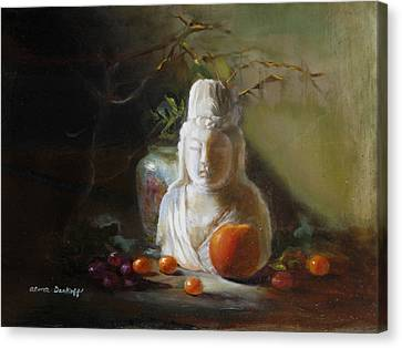 Quan Yin With Cumquats Canvas Print