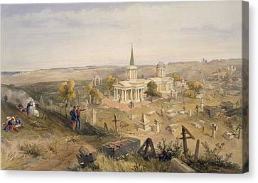 Quarantine Cemetery And Church, Plate Canvas Print by William 'Crimea' Simpson