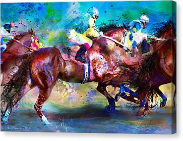 Quarter Racing Blues Canvas Print by Kari Nanstad